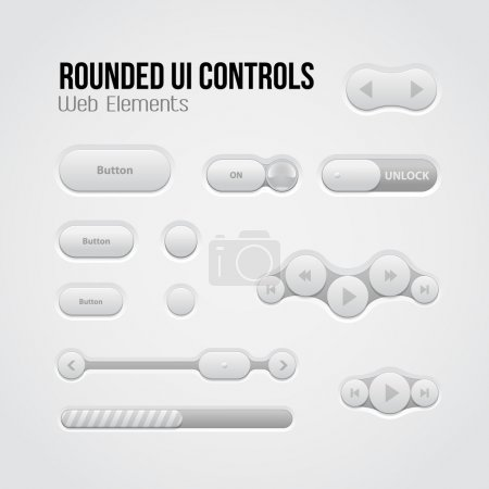 Rounded Light UI Controls Web Elements: Buttons, Switchers, On, Off, Player, Audio, Video: Play, Stop, Next, Pause, Volume, Equalizer, Slider, Loader, Progress Bar, Bulb