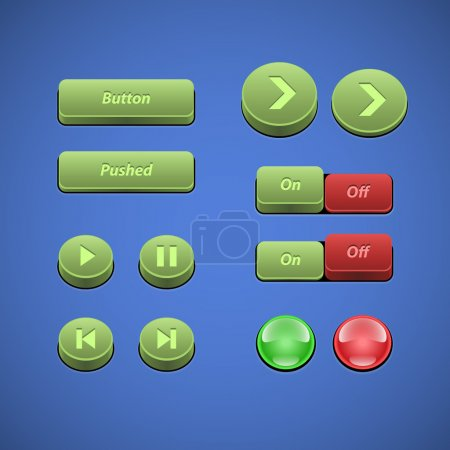 Raised Buttons Green And Red UI Controls Web Elements: Buttons, Switchers, On, Off, Player, Audio, Video: Play, Stop, Next, Pause, Arrows