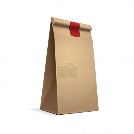 Slim Paper Bag Package Of Coffee, Salt, Sugar, Pepper, Spices Or Flour, Filled, Folded, Close, Brown. Ready For Your Design. Snack Product Packing Vector EPS10