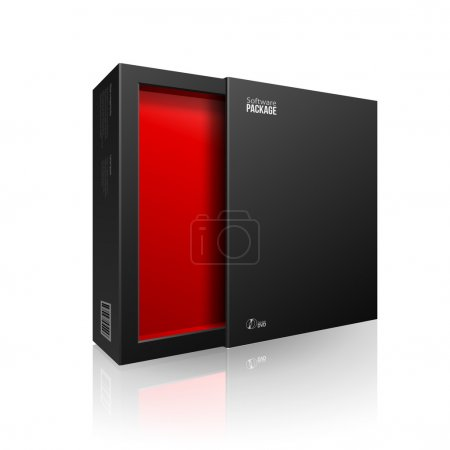 Ilustración de Opened Black Modern Software Package Box Red Inside For DVD, CD Disk Or Other Your Product EPS10 - Imagen libre de derechos