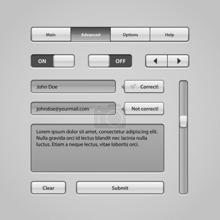Clean Light User Interface Controls 5. Web Elements. Website, Software UI: Buttons, Switchers, Arrows, Navigation Bar, Menu, Search, Comments, Scroll, Scrollbar, Input, Text Box Area