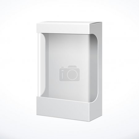 Illustration for White Product Package Box With Window. Illustration Isolated On White Background. Ready For Your Design. Vector EPS10 - Royalty Free Image