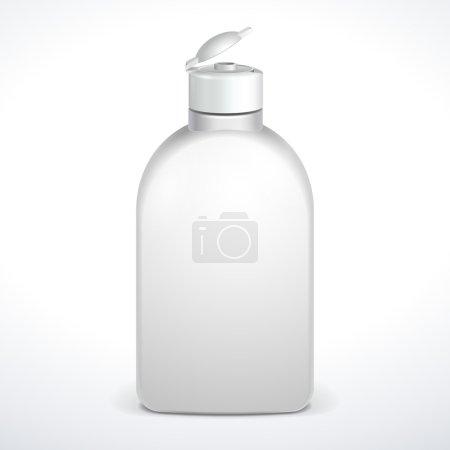Illustration pour Bouteille en plastique blanche ouverte cosmétique ou hygiénique de gel, savon liquide, lotion, crème, shampooing. Prêt pour votre design. Illustration isolée sur fond blanc. Vecteur EPS10 - image libre de droit