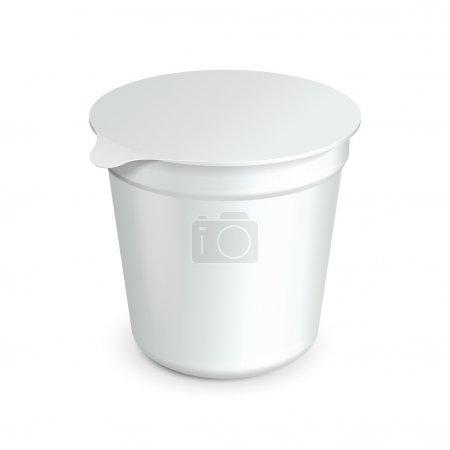Illustration pour Tasse blanche cuve alimentaire contenant de plastique pour le dessert, yaourt, crème glacée, Stream aigre ou collation. prêt pour votre conception. produit d'emballage vecteur eps10 - image libre de droit