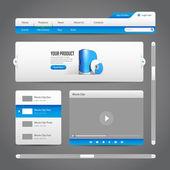 Webové uživatelské rozhraní ovládá prvky šedé a modré na tmavém pozadí 2: navigační panel, tlačítka, jezdec, okno se zprávou, menu, tabulátory, přihlášení, Hledat, nabídka, posun, hráč, video, pokrok bar, play, stop