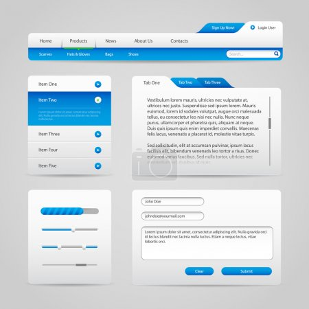 Web UI Controls Elements Gray And Blue On Light Background 4: Navigation Bar, Buttons, Slider, Message Box, Menu, Tabs, Input Text Area, Search, Scroll, Progress Bar, Accordion