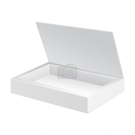Ilustración de Abrió la caja del paquete de cartulina blanca. caramelo de regalo. en fondo blanco aislado. listo para su diseño. vector eps10 embalaje del producto - Imagen libre de derechos