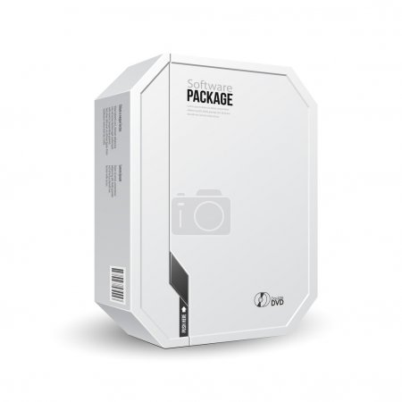 Octagon Modern White Software Package Box With DVD Or CD Disk For Your Product. Vector EPS10