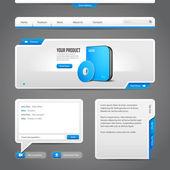 Webové uživatelské rozhraní ovládá prvky šedé a modré na tmavém pozadí: navigačního panelu, tlačítka, jezdec, okno se zprávou, Chat, Menu, záložky, vstupní textové oblasti, hledání, posun, Download, popis