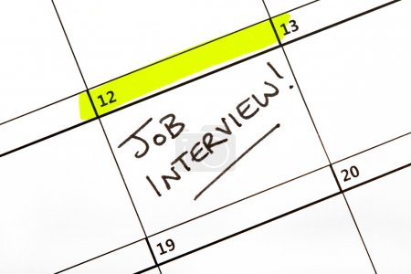 Photo for Date for a Job Interview written on a Calendar. - Royalty Free Image