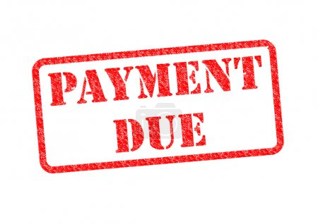 'PAYMENT DUE' Red Stamp over a white background....