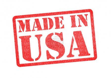Photo pour Made in usa rubber stamp sur fond blanc. - image libre de droit