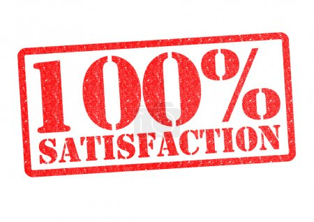 Photo pour 100 pour cent tampon en caoutchouc SATISFACTION sur fond blanc . - image libre de droit