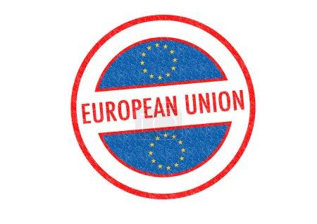 Photo pour Timbre de caoutchouc de l'union européenne passeports sur un fond blanc. - image libre de droit