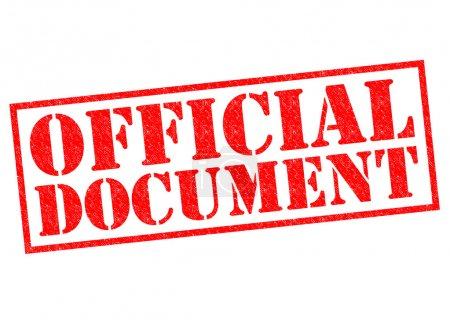 Photo pour DOCUMENT OFFICIEL Timbre en caoutchouc rouge sur fond blanc . - image libre de droit