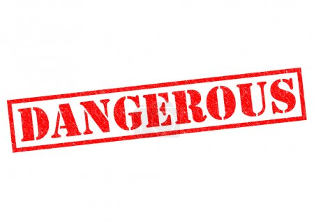 DANGEROUS red Rubber Stamp over a white background...