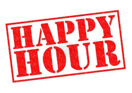 Photo pour Timbre en caoutchouc happy hour rouge sur fond blanc. - image libre de droit