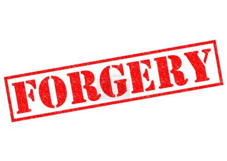 FORGERY red Rubber Stamp over a white background....