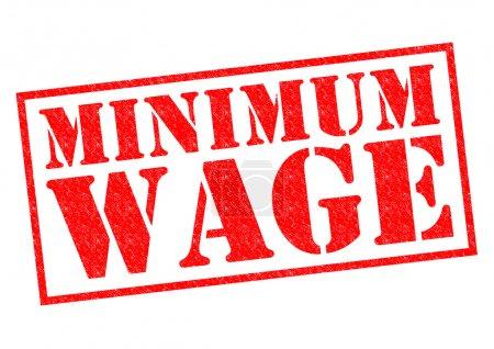 Foto de Sello de goma salario mínimo rojo sobre un fondo blanco. - Imagen libre de derechos