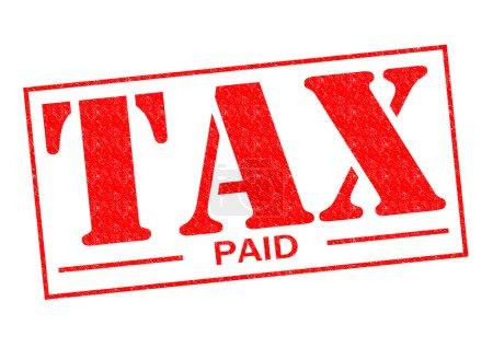 Photo pour Taxe payée encreur rouge sur fond blanc. - image libre de droit
