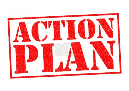 ACTION PLAN red Rubber Stamp over a white backgrou...