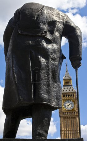 Sir Winston Churchill Statue and Big Ben in London
