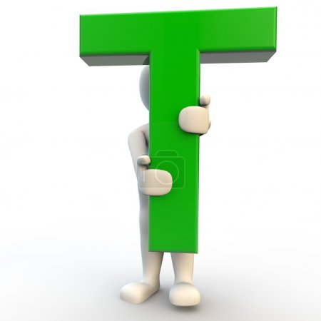 3D human character holding green letter T