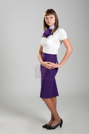 Young girl in stewardess uniform...
