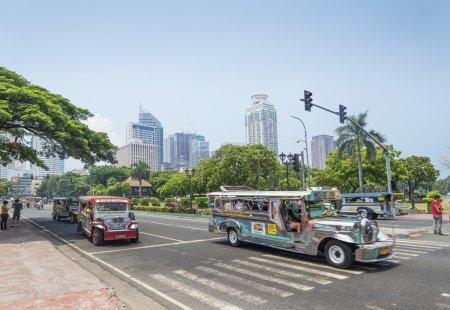 jeepneys in rizal park manila philippines