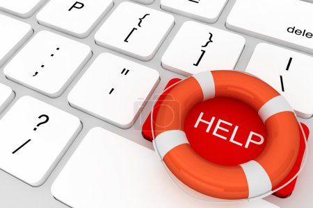 Photo for Assistance concept. Computer Keyboard with red Help button and lifebuoy - Royalty Free Image