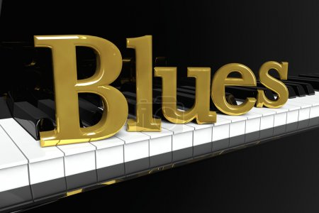 Photo for Music Concept. Black piano keys with golden Blues sign. - Royalty Free Image