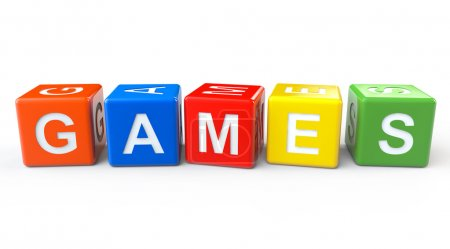 Photo for Toy Blocks with Games Sign on a White Background - Royalty Free Image
