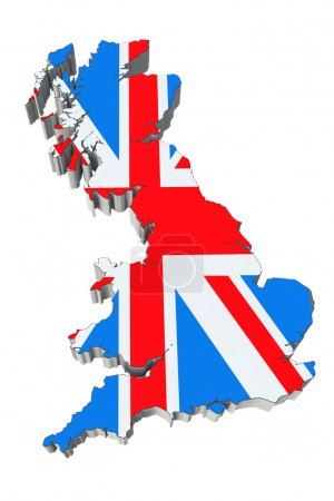 Photo pour Carte de l'Angleterre dans les couleurs du drapeau de l'Angleterre sur fond blanc - image libre de droit