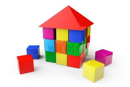 Photo for House from children cubes on a white background - Royalty Free Image