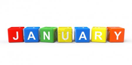 Cubes with January sign on a white background...