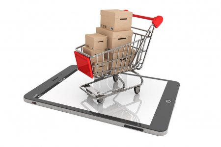 E-commerce Concept. Shopping Cart with Boxes over Tablet PC on a white background