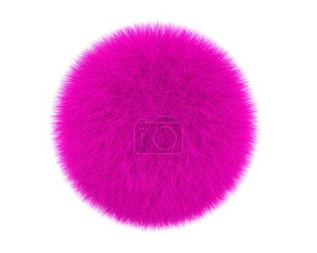 Photo pour Boule de fourrure rose isolée sur fond blanc - image libre de droit