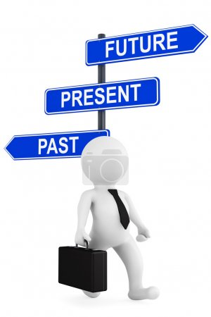 Past Present Future traffic sign with 3d person