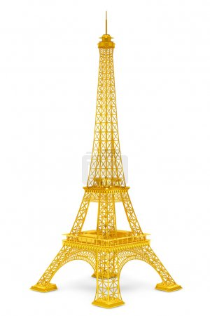 Photo for Golden 3d Eiffel tower on a white background - Royalty Free Image