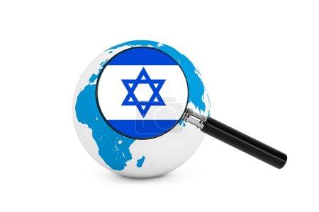Photo pour Drapeau magnifié d'Israël avec le globe terrestre sur un fond blanc - image libre de droit