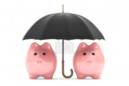 Photo for Wealth protection concept. Piggy Banks under umbrella on a white background - Royalty Free Image