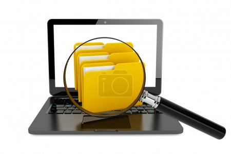 Laptop computer with folders and magnifier