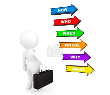 Photo pour Homme d'affaires de la personne 3D, avec des flèches colorées de diverses questions sur fond blanc - image libre de droit
