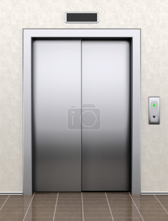 Modern elevator with closed doors extreme closeup...