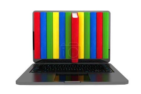 E-Learning-Konzept. Laptop mit bunten Büchern
