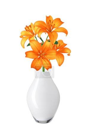 Photo pour Belles fleurs de lis orange dans un vase isolé sur fond blanc - image libre de droit