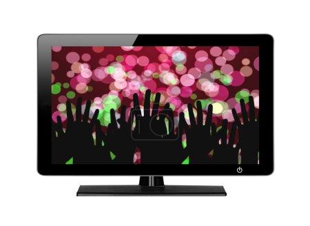 Photo pour Écran de télévision moderne Lumières festives isolées sur fond blanc - image libre de droit