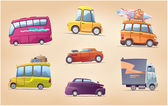 The set of the vector cartoon vehicles There are a touring buses the racing hot rod the surfer's van the heavy truck and the other This is EPS 100 editable layered vector Enjoy