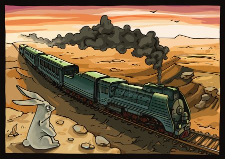 Illustration for The wild rabbit is looking at the moving train with a steam locomotive in a desert. The rabbit is placed on a separate layer in the original vector EPS file v10. Enjoy! - Royalty Free Image