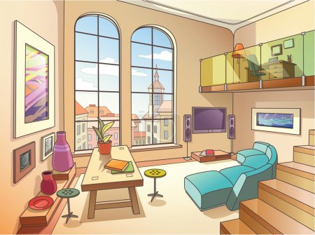Illustration for The light interior of a two-storied cozy living room is full of paintings and other art objects in the bright sunny day. - Royalty Free Image